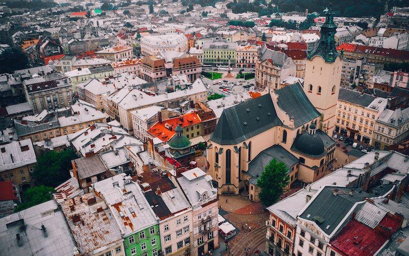 Bird's-eye view image of European city.