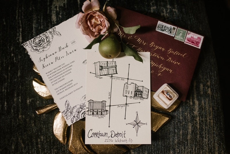 Image of wedding invitations, courtesy of Spoke Events + Northern Native Photography