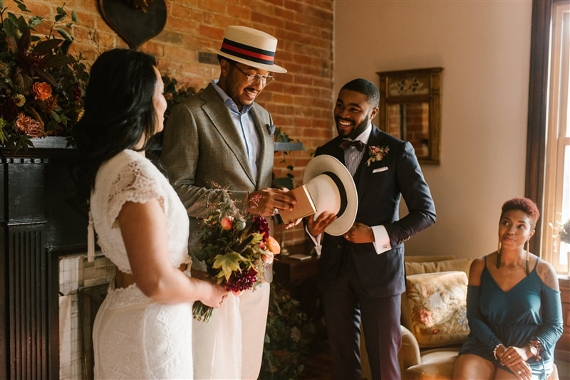Image of couple eloping in home, courtesy of Spoke Events + Northern Native Photography