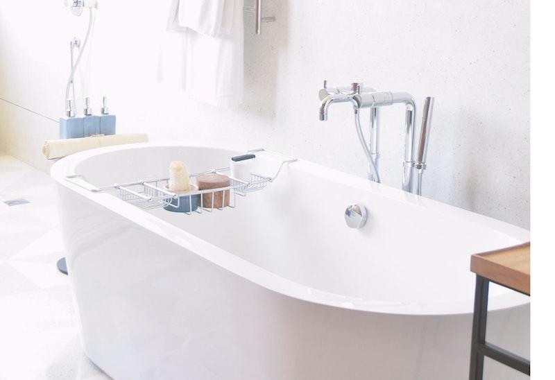 Image of home bathtub, featuring new bathtub caddy