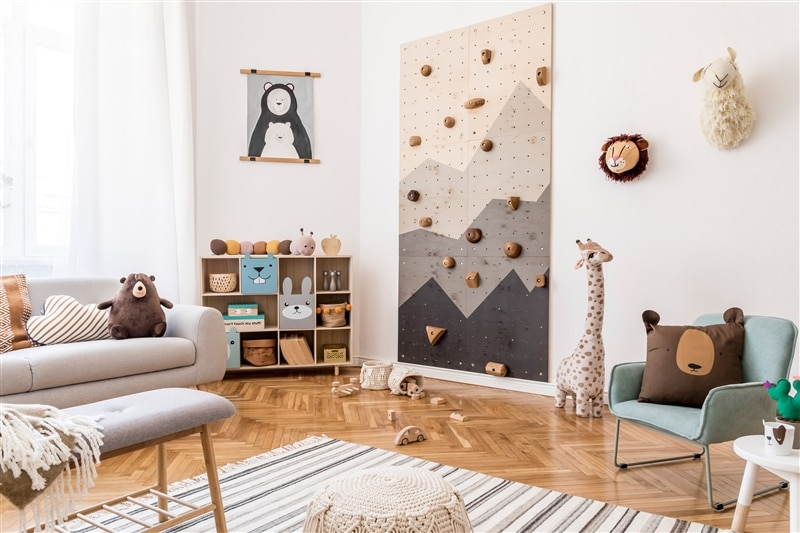 Image of kid's playroom with a climbing wall.