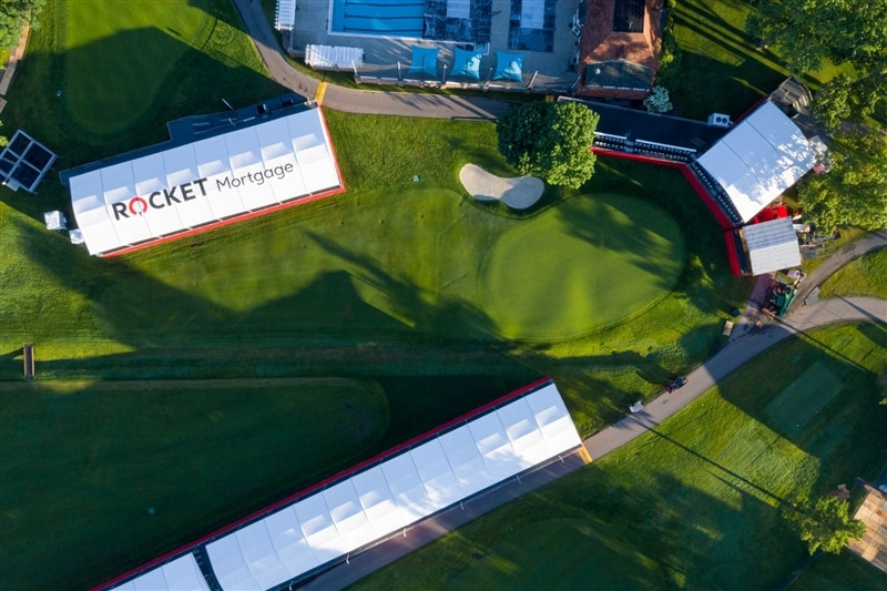 Bird's eye view of Rocket Mortgage Classic golf course and suites.