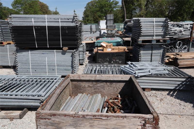 Image of steel and building materials at staging area.
