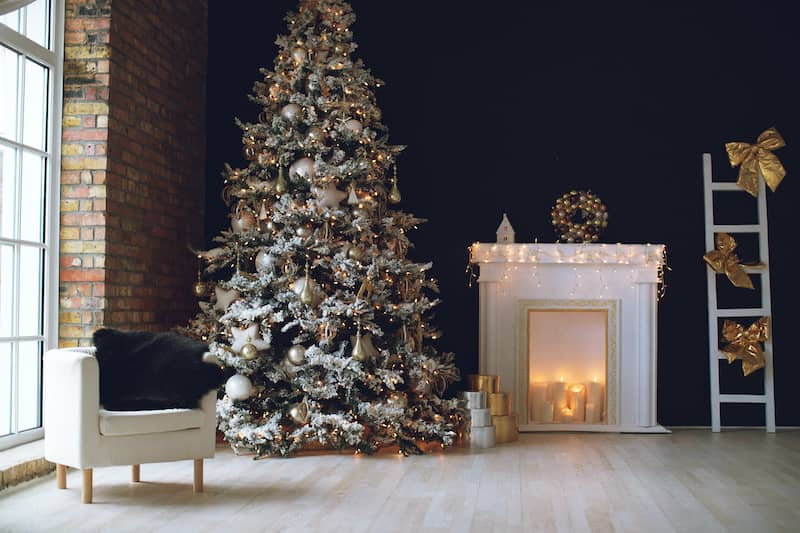 Frosted Christmas Tree with a navy wall