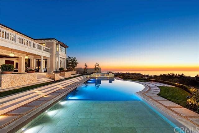 Long pool with brick balcony