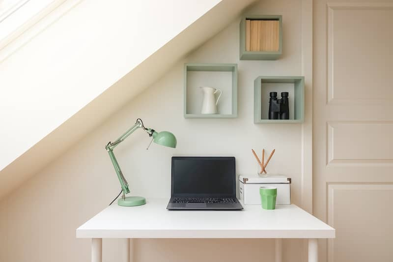 small attic turned into office space