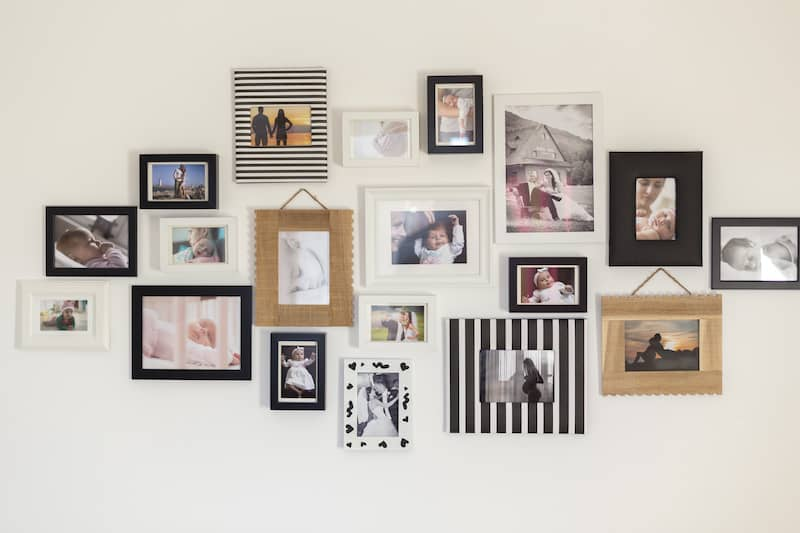Collage of framed family photos