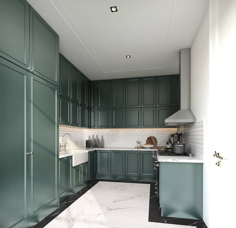 Fresh painted green cabinets in small kitchen