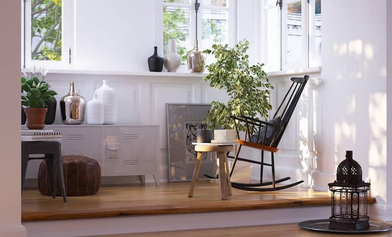 Cozy reading nook in home