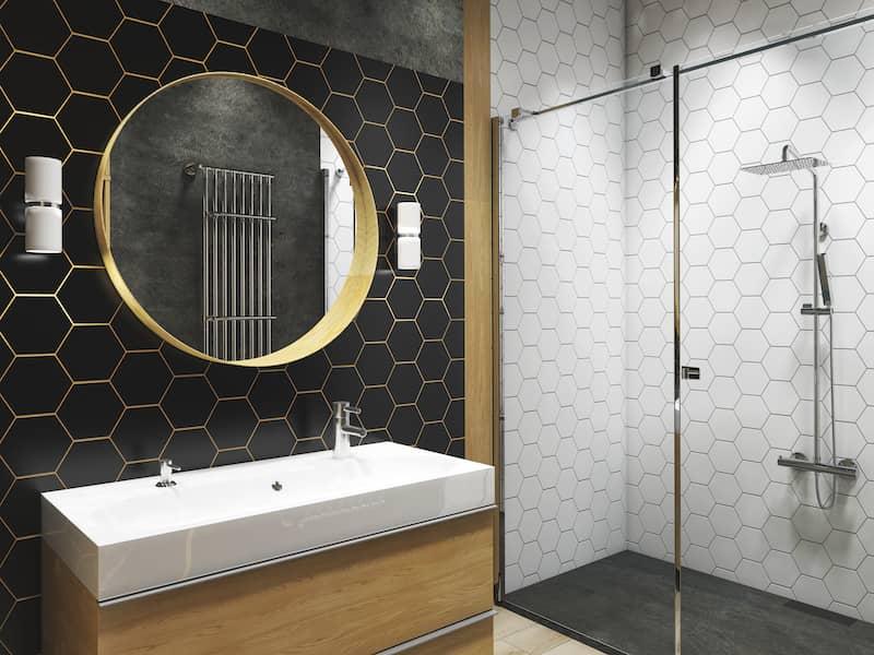 Black tiled wall in bathroom