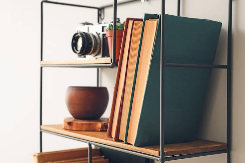 industrial shelving with camera, filing folders, and plant
