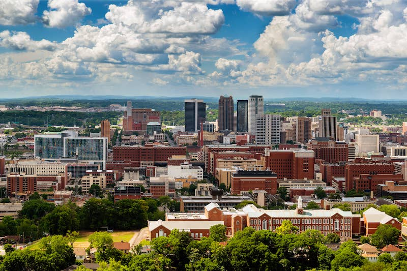 aerial view of Downtown Birmingham, Alabama