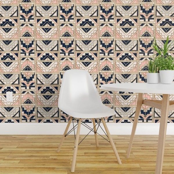 Aztec-inspired geometric wallpaper by Roostery.