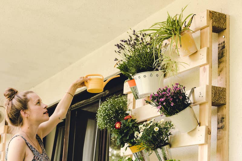 young woman watering her potted-plants on the balcony