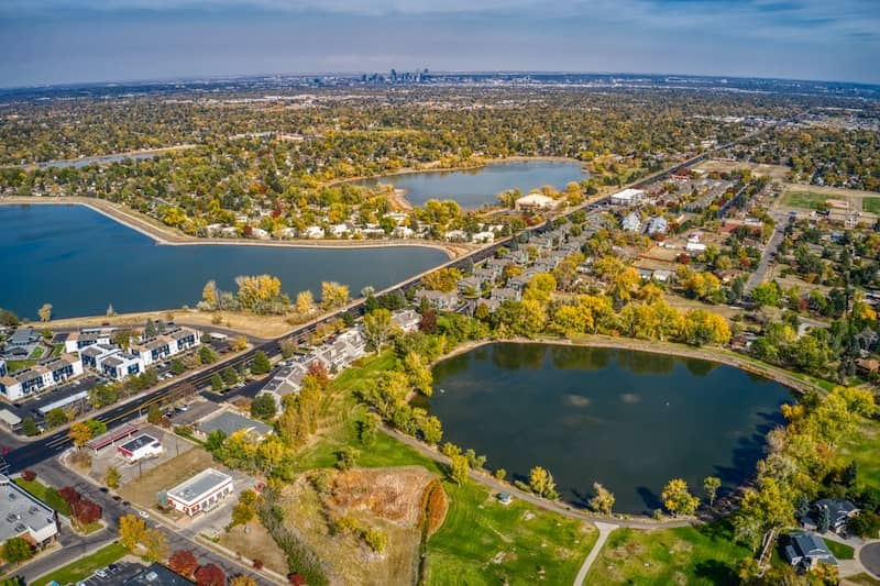 aerial view of autumn colors in denver suburb of lakewood colorado