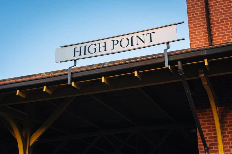 sign above High Point, North Carolina train station