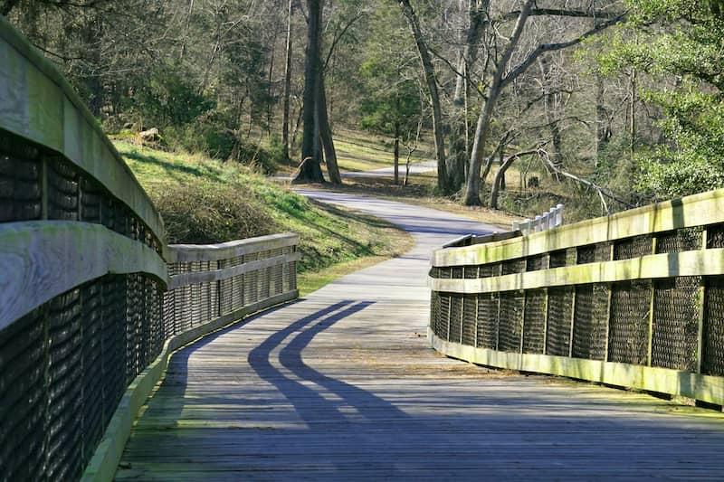 bridge on trail in Holly Springs, North Carolina