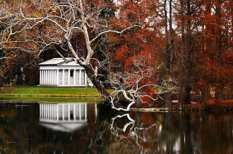 Mausoleum In Fall Reflection