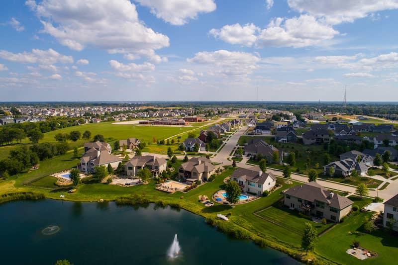 Aerial Image Residential Rural Neighborhood