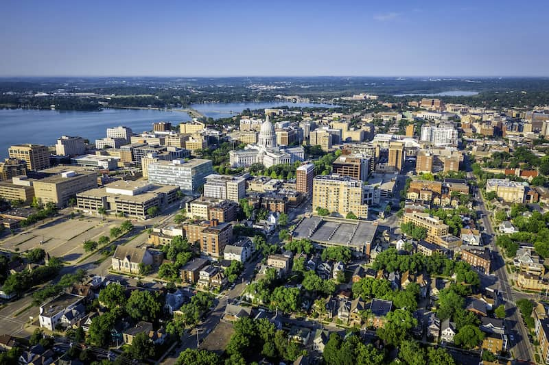 aerial view of Madison, Wisconson