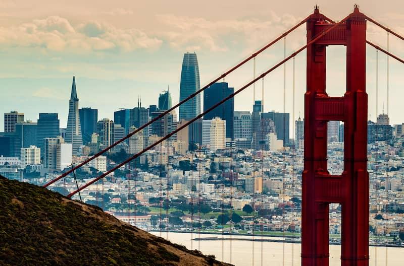Golden Gate Bridge in front of the SanFrancisco skyline