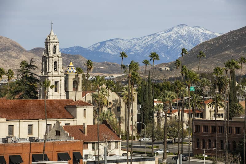 Snow Capped Mountain View Of The Historic Skyline Of Riverside California