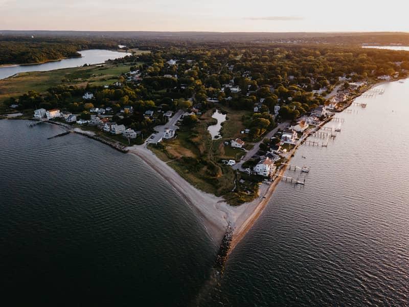 Aerial Landscape Photograph Taken In Warwick Rhode Island Surrounded By Ocean