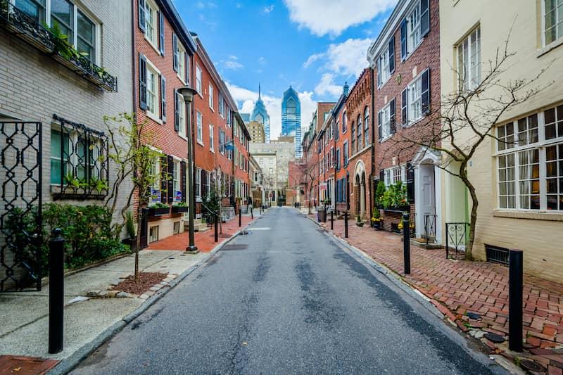 Brick Alley With Philidelphia Skyline