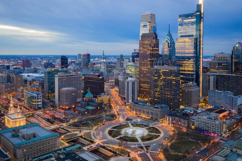 Aerial of Logan Circle PA