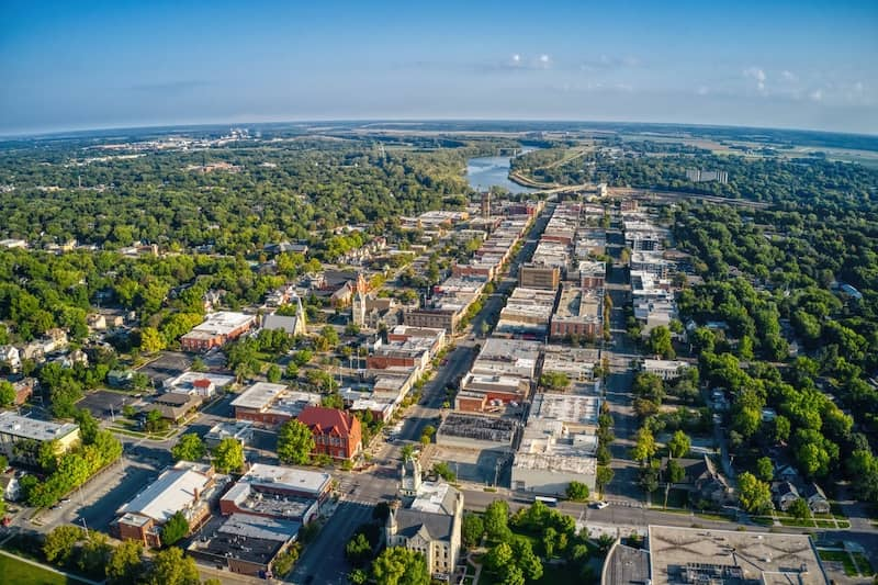 aerial view of Lawrence Kansas and ITS State University