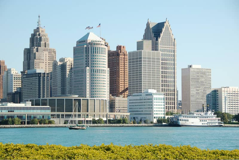 Downtown Detroit Michigan Seen from Canadian Boarder