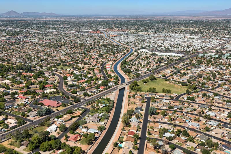 aerial view of Mesa, Arizona