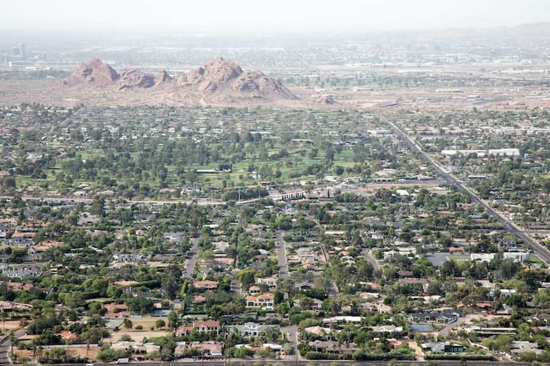 aerial view of Scottsdale