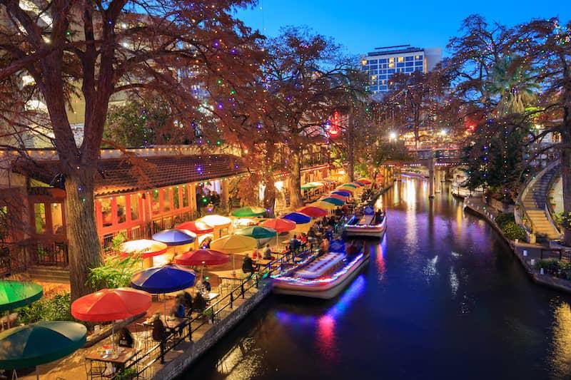 River Walk In San Antonio Texas In Colorful Lights