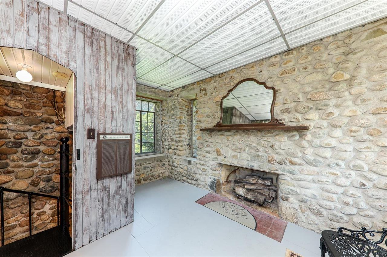 fireplace in a stone castle