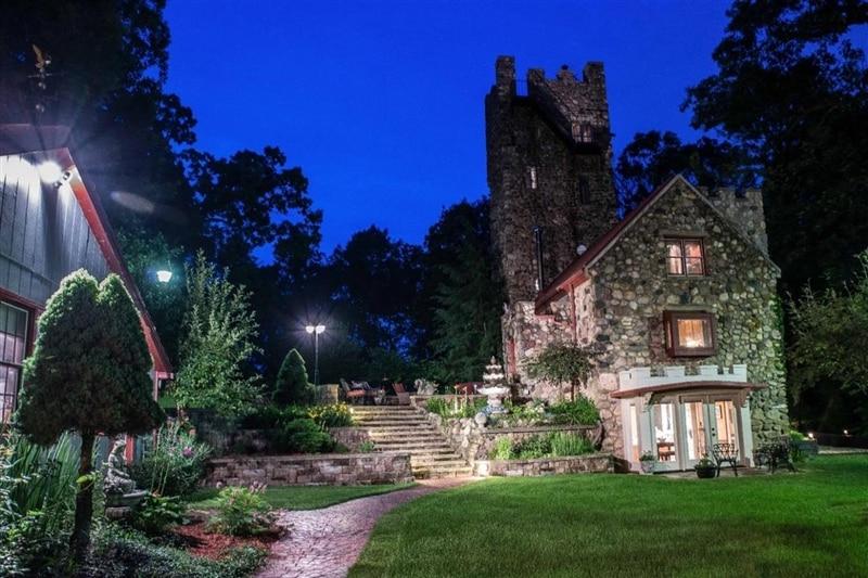 lighting around castle in the evening