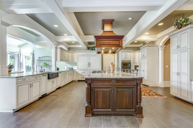 coffered ceiling in kitchen