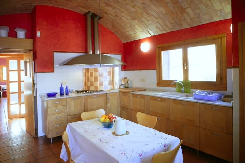 cove ceiling and bright red wall in kitchen