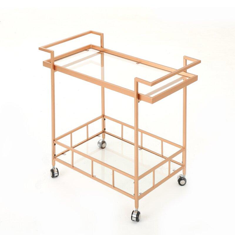 gold and glass bar cart