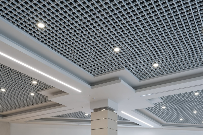 white and black gridded ceiling