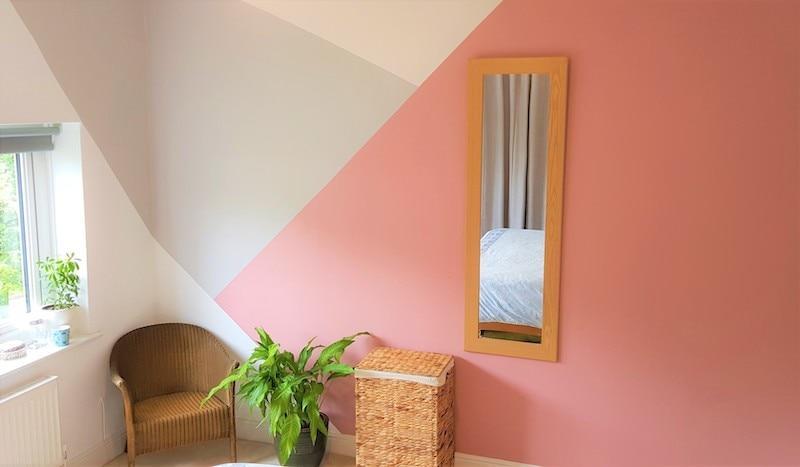 Geometric pattern painted onto wall.