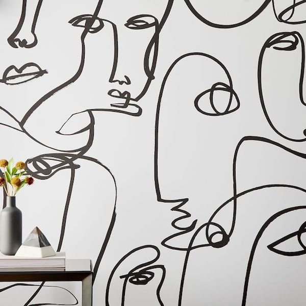 Modern Hand Drawn Abstract Feminine Faces Wallpaper