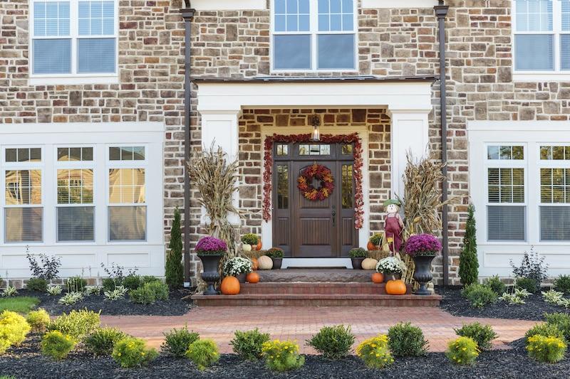 Autumn decorated front door.