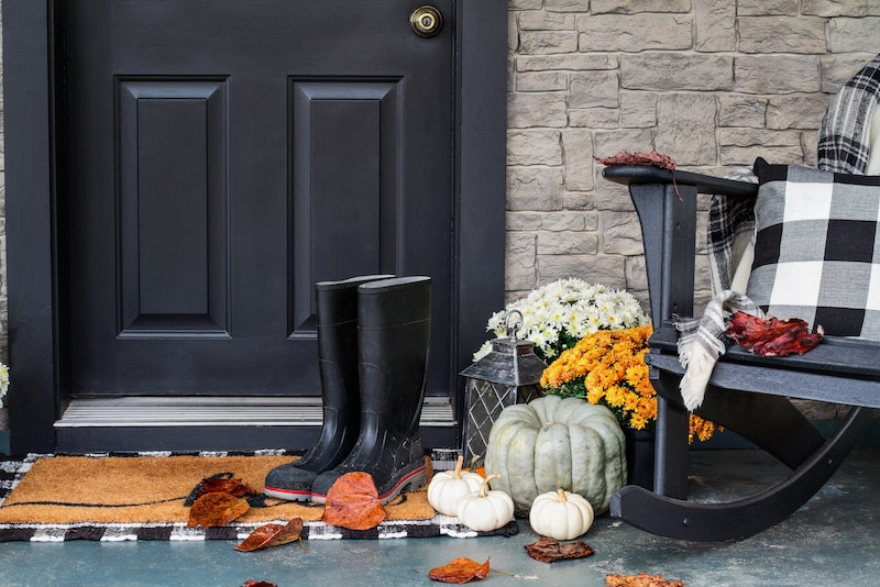 Black and orange themed front porch.