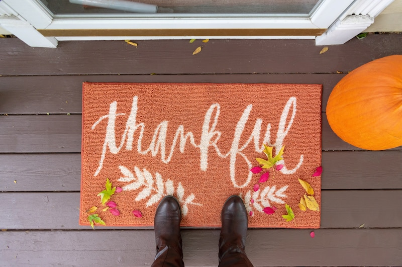Thankful doormat on front porch.