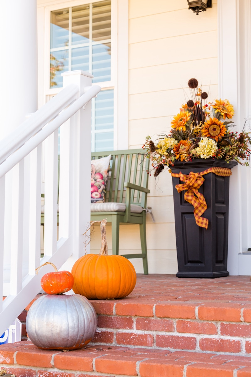 Fall planter on porch.