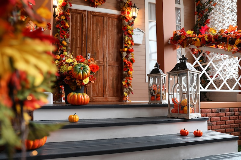 Autumn decorated front porch.