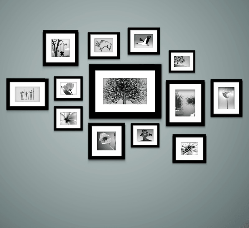 Picture frames arranged around a focal point.