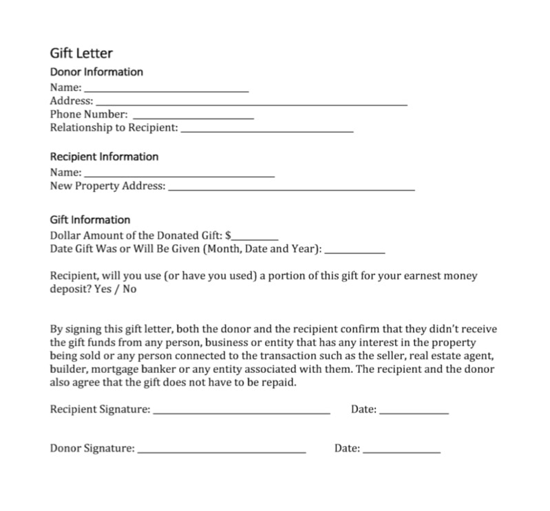 gift letter mortgage template