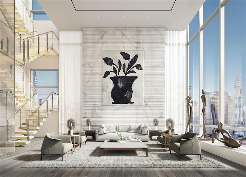Living room with high ceilings and large square footage.